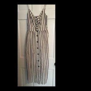 Pink and white striped midi dress